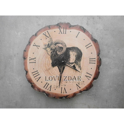 Dřevěné myslivecké hodiny - muflon