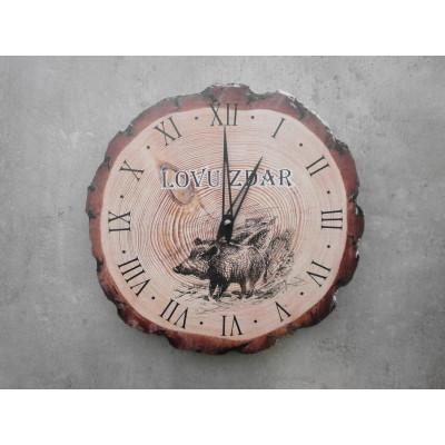 Nástěnné myslivecké hodiny - motiv divočák