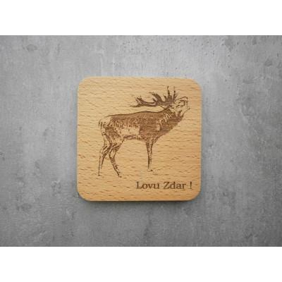 Dřevěný podtácek - jelen