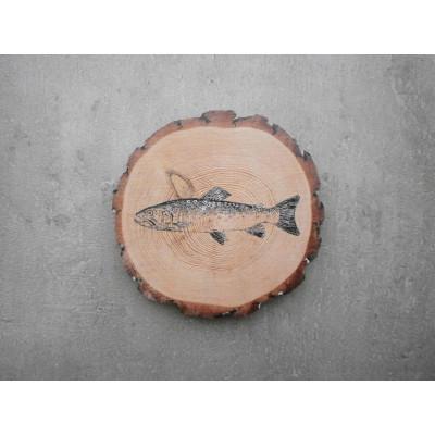 Dřevěný podtácek - pstruh
