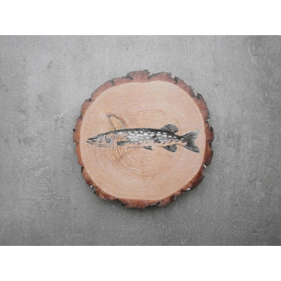Dřevěný podtácek - štika