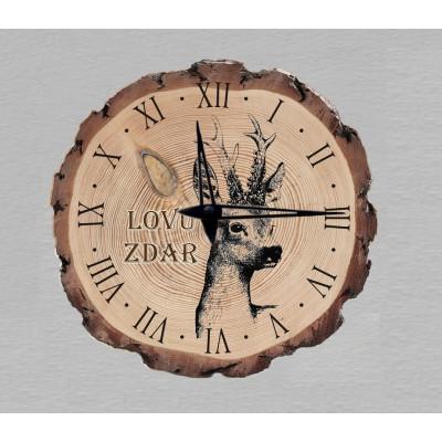 Nástěnné myslivecké hodiny - motiv hlava srnce